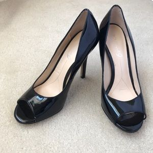 NEVER BEEN WORN- Peep Toe Patent Leather Pumps